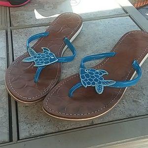 Coach fish flip flops - size 9.5